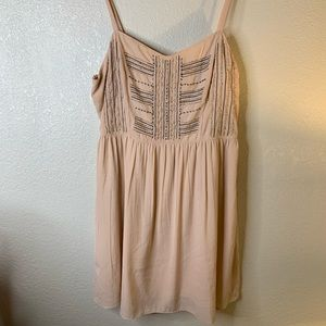 American Eagle beaded tan dress